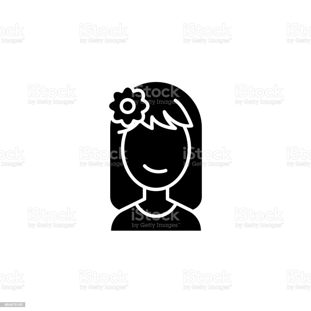 Relaxing woman face black icon concept. Relaxing woman face flat  vector symbol, sign, illustration. royalty-free relaxing woman face black icon concept relaxing woman face flat vector symbol sign illustration stock vector art & more images of abstract