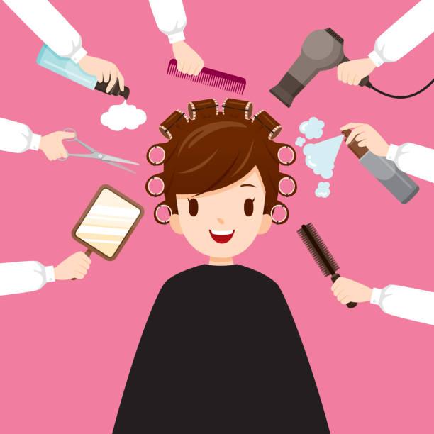 entspannende frau im friseursalon - haarsprays stock-grafiken, -clipart, -cartoons und -symbole