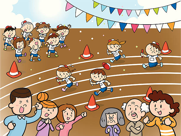 relay Vector illustration that depicted scene of relay of athletic meet. sports day cartoon stock illustrations