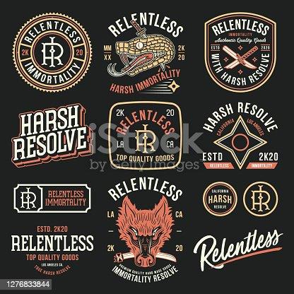 Relentless immortality Japanese vector badges