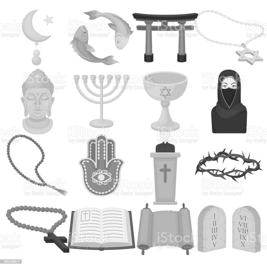 Religion et croyance des icônes monochromes dans la collection de jeu pour la conception. Accessoires, prière vector illustration web stock symbole. - clipart vectoriel de Accessoire libre de droits