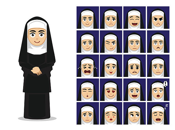 ilustraciones, imágenes clip art, dibujos animados e iconos de stock de religion catholic nun cartoon emotion faces vector illustration - hermana