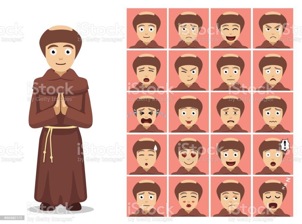 Religion Christian Monk Cartoon Emotion Faces Vector Illustration - ilustración de arte vectorial