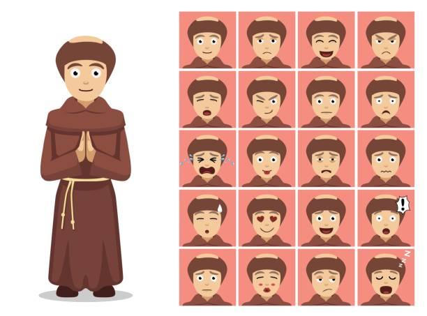 ilustraciones, imágenes clip art, dibujos animados e iconos de stock de religión christian monk cartoon emotion rostros ilustración vectorial - hermano