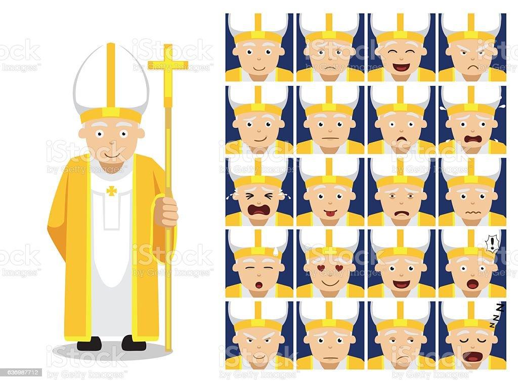 Religion Christian Pope Cartoon Emotion Faces Vector Illustration vector art illustration