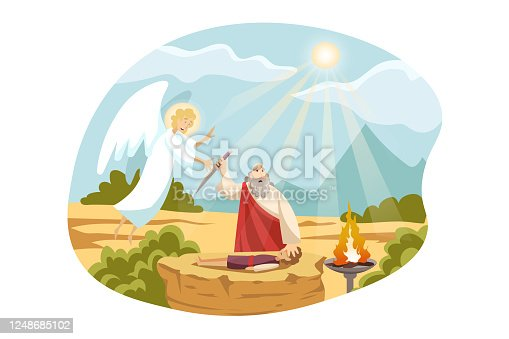 Religion, christianity, Bible concept. Old Testament biblical Genesis religious series. Abraham christian jewish character sacrifices son Isaac for God as test of faith angel comes for stopping him.