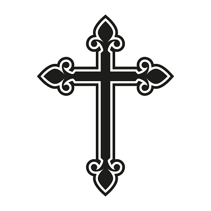 Religion cross. Catholicism or Christianity design template. Vector illustration.