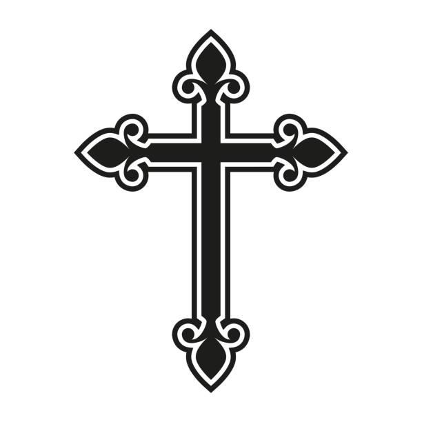 stockillustraties, clipart, cartoons en iconen met het kruis van de godsdienst. katholicisme of christendom ontwerpsjabloon. vector illustratie. - oversteken