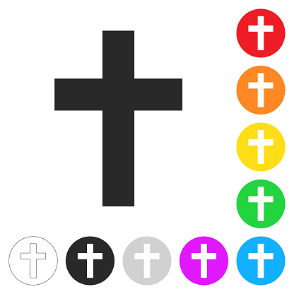 Religion cross. Flat icons on buttons in different colors