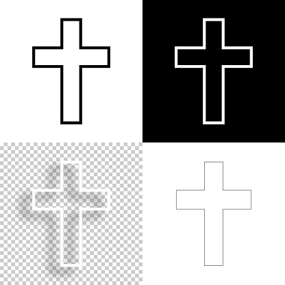 Religion cross. Icon for design. Blank, white and black backgrounds - Line icon