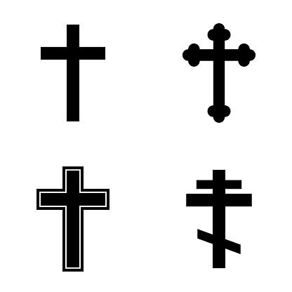 Religion cross icon set. Vector illustration