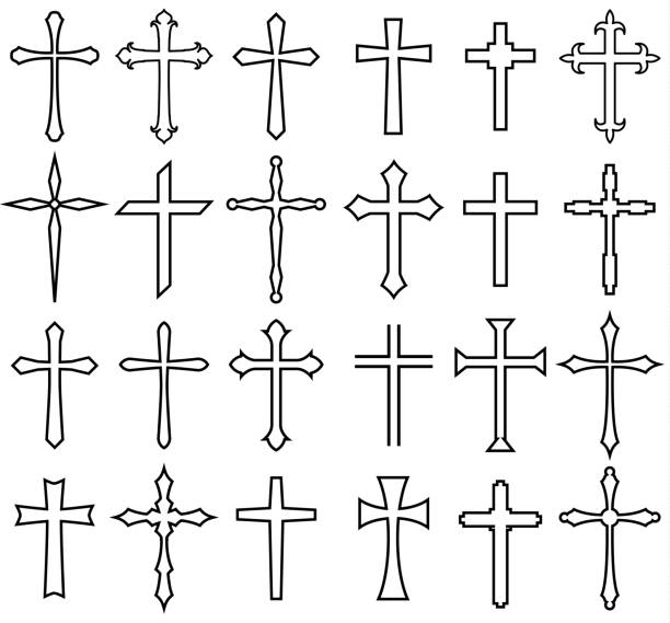 religion cross icon set religion cross icon set, line design religious cross stock illustrations