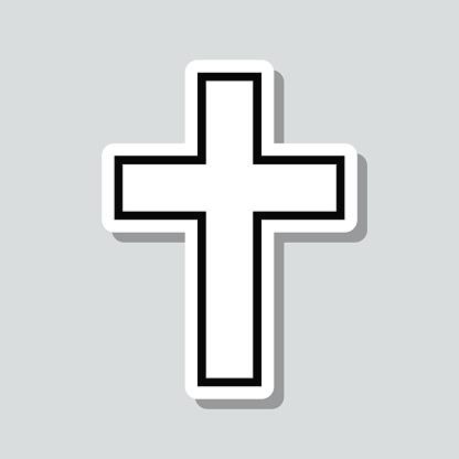 Religion cross. Icon sticker on gray background