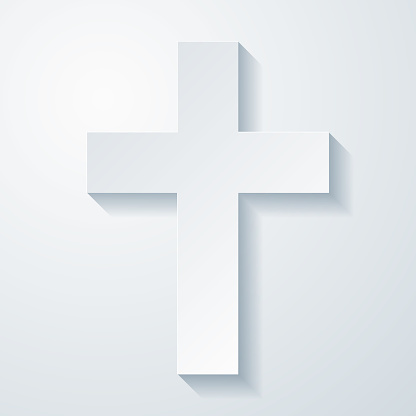 Religion cross. Icon with paper cut effect on blank background