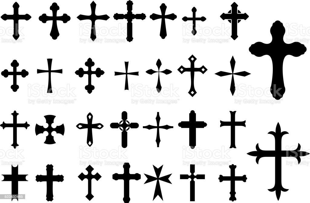 Religion Cross symbols set vector art illustration