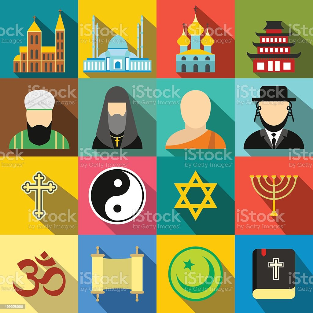 Religion flat icons set vector art illustration