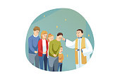 Religion, holiday, Bible, celebration concept. Young man guy priest receiveing communion of people men women parish in church celebrating Ash Wednesday. Religious lifestyle Lent beginning illustration