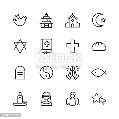 16 Religion Outline Icons.