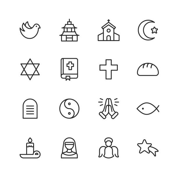 Religion Icons. Editable Stroke. Pixel Perfect. For Mobile and Web. Contains such icons as Religion, God, Faith, Pray, Christian, Catholic, Church, Islam, Judaism, Muslim, Hinduism, Meditation, Bible. 16 Religion Outline Icons. church stock illustrations