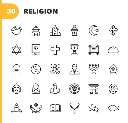 20 Religion Outline Icons.