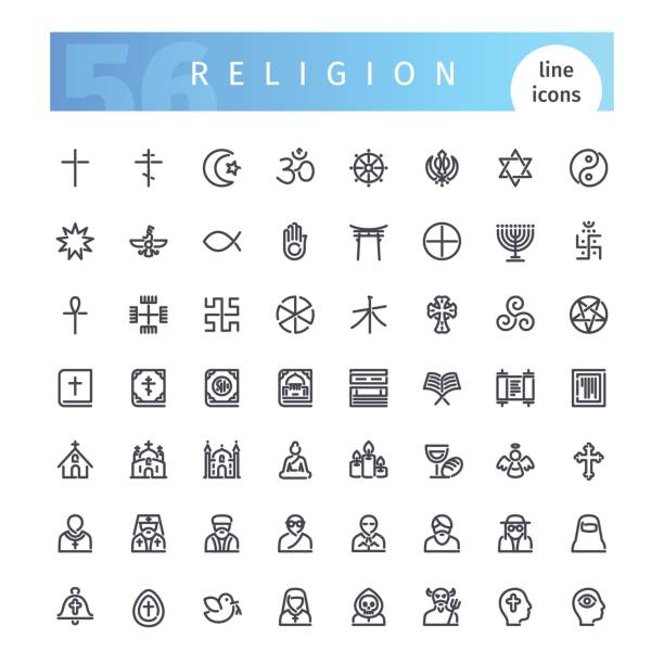 Religion Line Icons Set Set of 56 religion line icons suitable for gui, web, infographics and apps. Isolated on white background. Clipping paths included. religious symbol stock illustrations