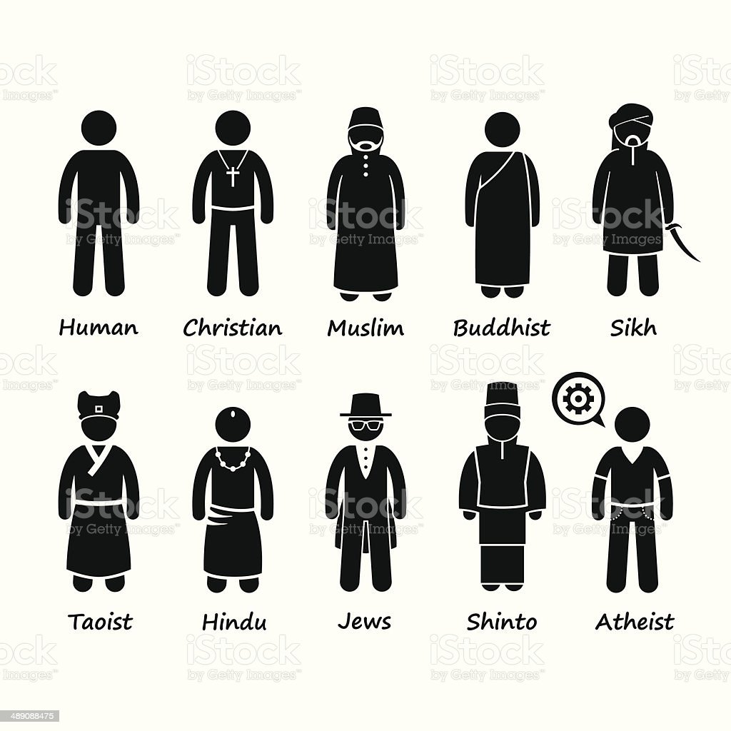 Religion of People in the World Cliparts vector art illustration