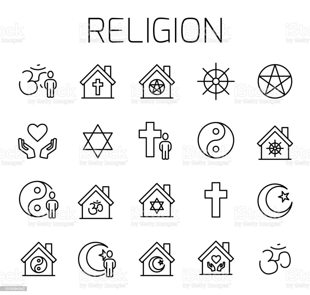 religion related vector icon set stock vector art more images of Middle East Religions in 2018 religion related vector icon set royalty free religion related vector icon set stock vector