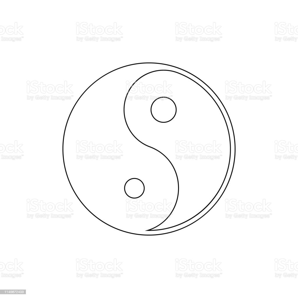 religion symbol, yin yang outline icon. Element of religion symbol...