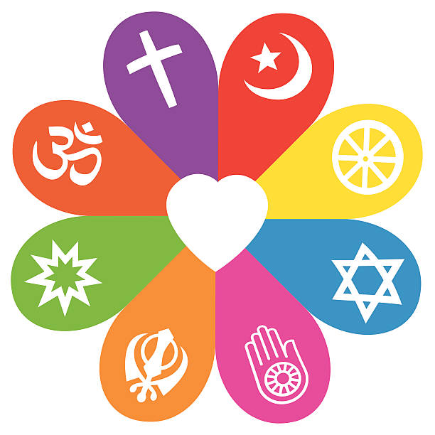 Religion Symbols Flower Love Colors Religious signs on colored petals assembling around a heart as a symbol for colorful religious individuality or faith - Christianity, Islam, Buddhism, Judaism, Jainism, Sikhism, Bahai, Hinduism. religious symbol stock illustrations