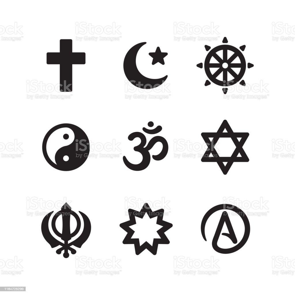 Icon set of religious symbols. Christianity, Islam, Buddhism, other...