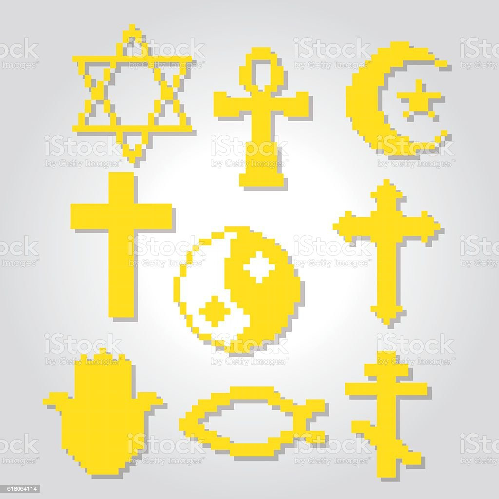 Religion symbols icons set. Pixel art. Old school computer graphic
