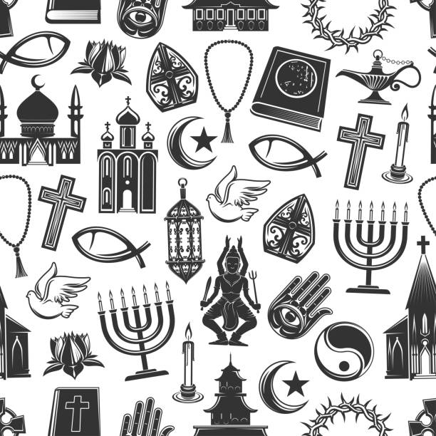 Religion symbols seamless pattern background World religion symbols and religious signs seamless pattern. Vector background of Christianity crucifix cross, Orthodox or Catholic bible, Judaism star and Islam Koran or Buddhism and Hinduism temples religious symbol stock illustrations