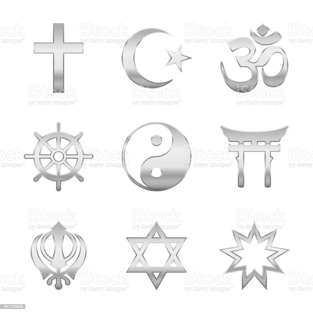Religion Symbols Silver Signs Of Major World Religious Groups And