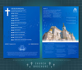 Religion two sided brochure or flyer template design with church building blurred photo and church calendar. Mock-up cover in blue vector modern style