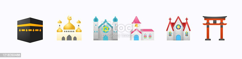 Religions Illustration Emoji, Emoticon, Ramadan Kareem Icons Set. Kaaba, Mosque, Church, Synagogue, Shinto Shrine Isolated Realistic Vector Icon Set