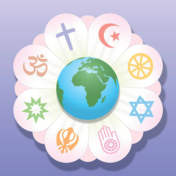 Religions United World Flower Peace Symbols World religions united as petals of a flower - a symbol for religious solidarity and coherence - Christianity, Islam, Buddhism, Judaism, Jainism, Sikhism, Bahai, Hinduism. Vector illustration. religious symbol stock illustrations