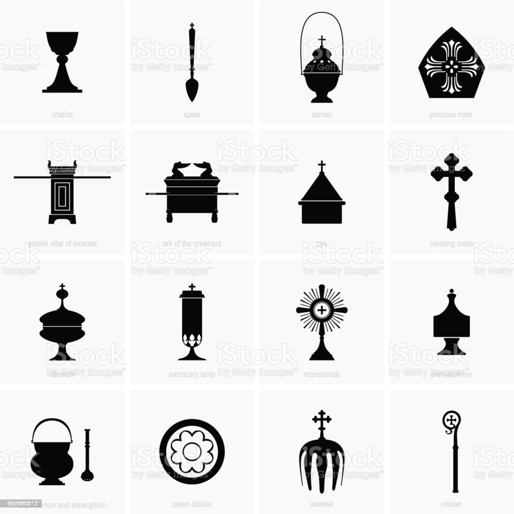 Religious and Mass Items vector art illustration