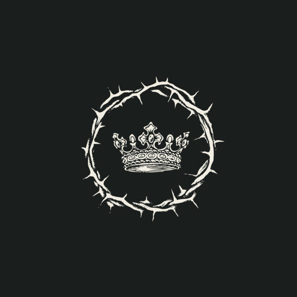 religious banner with a crown of thorns and a crown Vector banner on the theme of Easter with a crown of thorns and a crown on the black background. Black and white religious illustration sharp stock illustrations