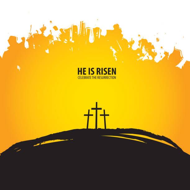 Religious banner with three crosses on the hill Vector illustration on the theme of Easter and Good friday. Religious banner with three crosses on Mount Calvary on abstract background with words He is risen, celebrate the resurrection seven deadly sins stock illustrations