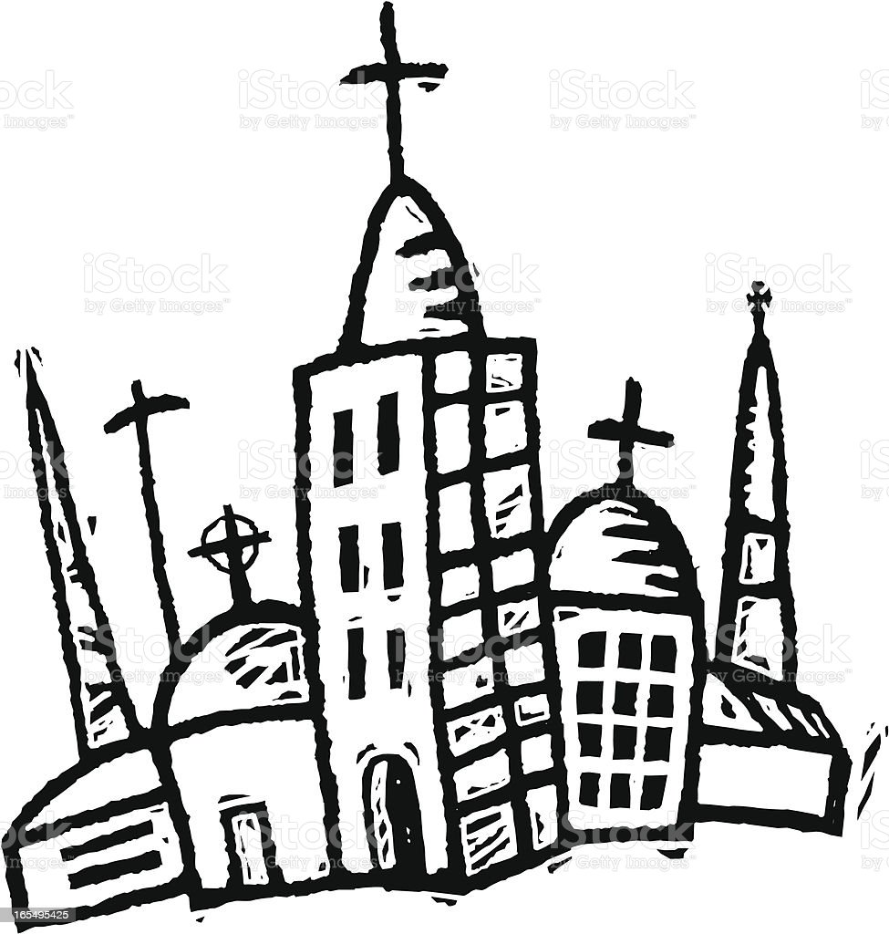 Religious buldings vector art illustration