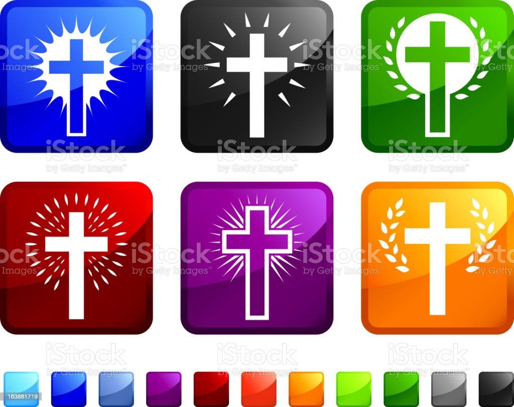 religious christian crosses royalty free vector icon set stickers