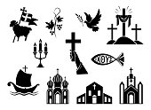 Religious christian signs and symbols. Set of icons. Church, hands holding  cross, dove with branch, fish and ship. Cross with shroud. Lamb is symbol of Christ's sacrifice. Isolated silhouette. Vector