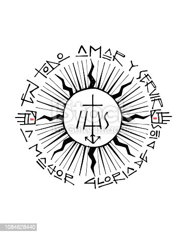 Hand drawn vector illustration or drawing of a religious christian jesuit symbol