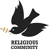 Religious community. Emblem template with dove. Holy Spirit. Vector illustration