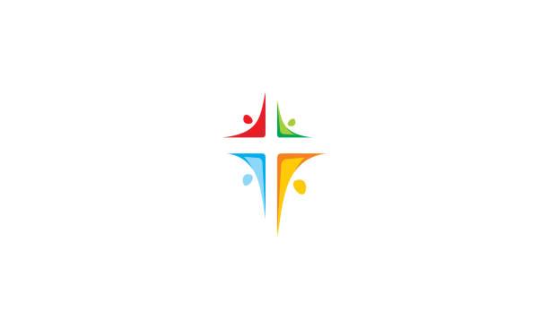 교회 로고 아이콘 벡터를 교차 하는 종교 - 십자가 stock illustrations