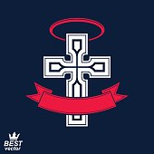 Religious cross emblem with halo and ribbon