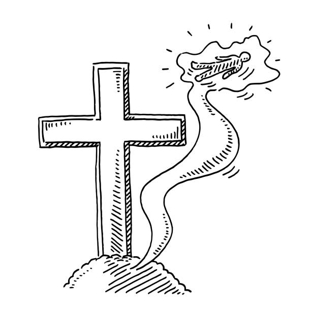 Religious Cross Soul Rising To Heaven Drawing Hand-drawn vector drawing of a Religious Cross and a Soul Rising To Heaven. Black-and-White sketch on a transparent background (.eps-file). Included files are EPS (v10) and Hi-Res JPG. cartoon character figure stock illustrations