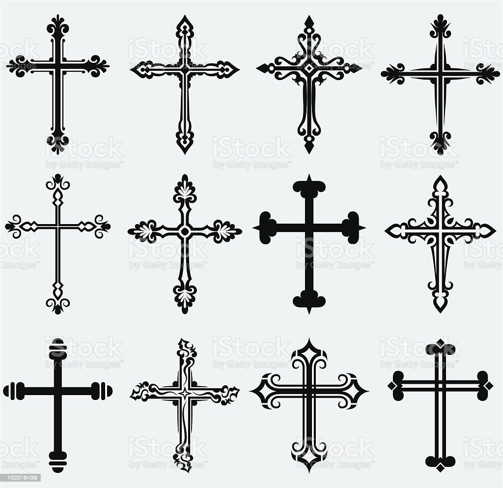 Religious cross vector art illustration