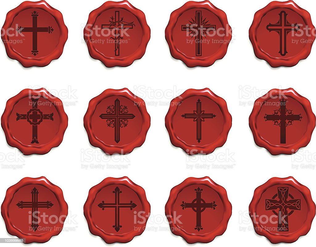 religious cross wax seal collection royalty-free stock vector art
