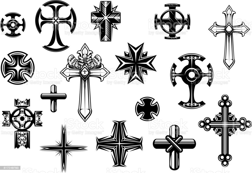 Religious crosses set vector art illustration